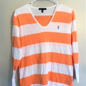 Ralph Lauren Women's Striped V-neck Sweater Size L